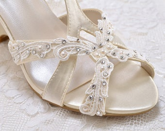 Wedding Shoes - Lace Embellishments-T Strap Wedge Sandal- Custom Colors- PBTU2.5 Women's Bridal Wedge Shoes