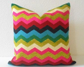 Decorative pillow cover, Multicolor chevron pillow