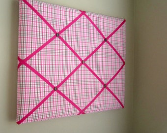 """Pink Brown Hot Pink Plaid 16""""x20"""" Memory Board or Bow Holder, Vision Board, Bow Board, Ribbon Board, Photo Display, Business Card Holder"""