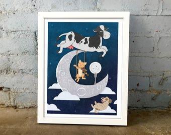 Nursery Rhyme Hey Diddle Diddle Print, nursery rhyme print, nursery art, cute print, baby shower gift