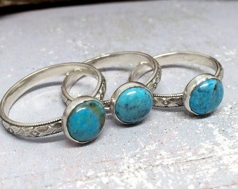Stackable Gemstone Ring - Turquoise - Gemstone Ring - Real Turquoise Stackable Ring - Turquoise ring for Women