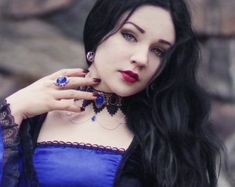 Gothic choker lace necklace Sapphire blue Swarovski crystal drop and elegant draped chains goth victorian - SINISTRA