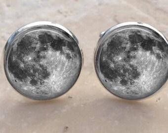Moon Cufflinks - Full Moon Cuff links - Galaxy Cufflinks -Space Cufflinks- Planet - Astronomer Men's Gift