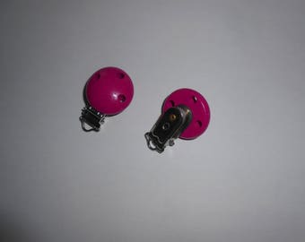 2 clips - to make yourself your pacifier clip - - wood - tone fuchsia - new