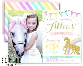 UNICORN INVITATION Unicorn Birthday Party Invitation Rainbow Unicorn Sparkle Gold and Pink Invitation