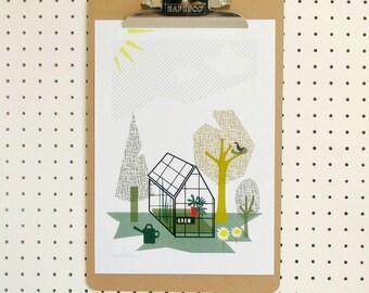 SALE Allotment Garden Greenhouse Print A4 Gardening Growing Gardener Art Poster Nature