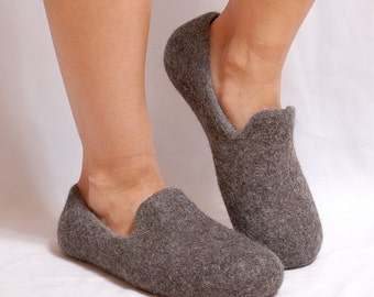 Wool felt loafers dark gray