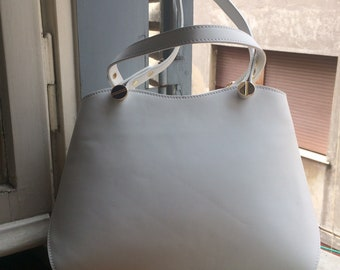 In Stock, White Italian Leather Purse, Made in Italy, Handpainted in Rome, Choose Your Custom Design!