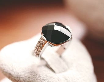 Black Onyx Ring, Silver, Onyx Stacking Ring, Stacker Ring, Stackable Ring, Womens Jewelry, Black Ring - Bohemian Ring, Boho Ring, Festival
