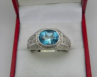AAAA Swiss Blue Topaz 10x8mm cut 3.25 Carats Heavy 14K White gold Antique Vintage styled MAN'S ring 15 grams. 2299(2)