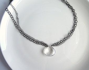 Bergkristall und oxidiertem Sterling Silber Anhänger Halskette - klare Quarz - Kette geschwärzt