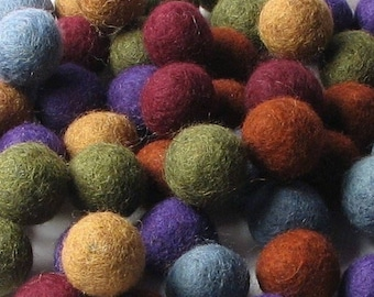 Collection - 60PC Piece EARTHY Felt Balls