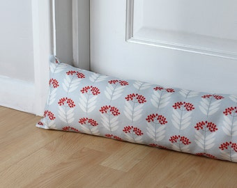 Draught Excluder Blue Floral Elder berry Fabric Scandi Home Patterned Fabric Modern Interior Decorative