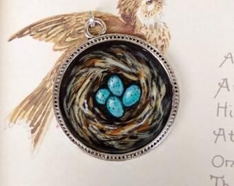 Robin's nest, Original oil painting necklace