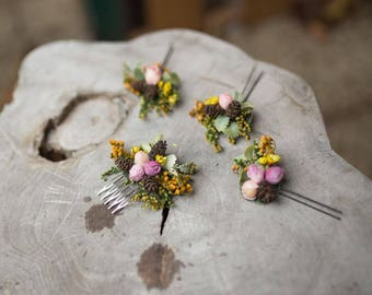 Set of a mini hair comb and three hairpins Flower set Hair accessories Wedding accessories Bridal flower set Woodland style Autumn style