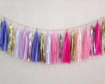 2 Tassel garland Purple Pink Gold Silver