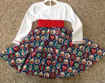 Toddler holiday dress, Christmas dress, toddler dress, toddler circle dress