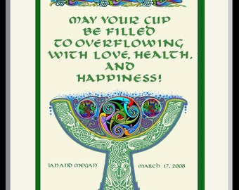 "Irish Wedding Gift, Celtic Goblet, authentic 10th century lettering and design, framed, anniversary or engagement gift, 11""x 14"""