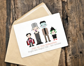 Custom Illustrated Halloween Party Card / Invite / Invitation (Digital File)