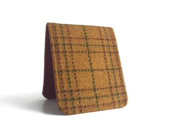 Mens Wallet / Super Thin Billfold Wallet / Vintage Brown Plaid Wool / Non-Leather Wallet
