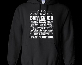 Teefavory i'm a bartender i was born with my heart on my sleeve shirt -  hoodie