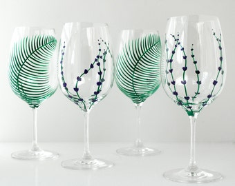 Garden Party Hand Painted Glasses - 4 Piece Collection for Mothers Day - Green Ferns and Lavender