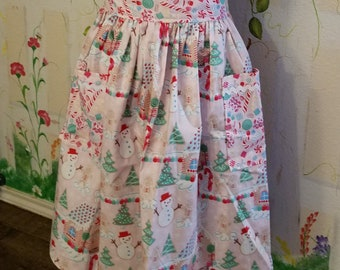 XL Half Apron with Pockets Candy Land Print Christmas