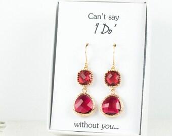 Long Ruby Gold Earrings, Gold Ruby Earrings, July Birthstone Gold Earrings, Bridesmaid Jewelry, Red Wedding Jewelry