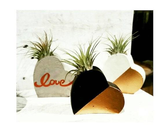 Concrete Air Planter/Heart Air Planter/Love/Succulent Planter/Indoor Planter/heart planter/Heart decor/anniversary gift/Metallic Decor