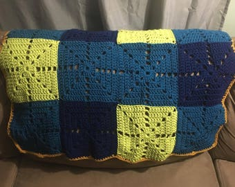 Baby Shower Handmade Crochet Baby Blanket baby blue Green Yellow Baby Afghan Baby Shower Gift Baby Boy