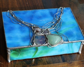 Blue Green Stained Glass Box with Stones
