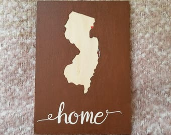 State wall art, Rustic decor, Hand painted state sign, Valentines day gift, Mini state home sign, Home state sign, Home decor, Dorm decor