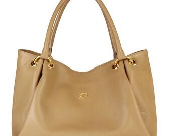 Leather Hobo Bag, Dark Beige Leather Hobo Bag, Women's Leather Hobo Purse KF-007