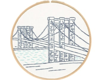 NYC BROOKLYN BRIDGE embroidery kit - travel souvenir, architecture embroidery, embroidery hoop art, hand embroidery kit by StudioMME