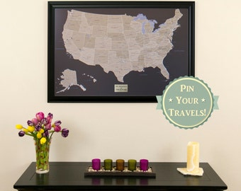 """Personalized Earth Toned US Push Pin Travel Map with Pins and Frame 24""""x36""""-Push Pin Travel Map- Personalized Gift Idea - Inspire Wanderlust"""