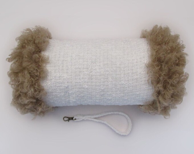 Linton Tweed Ivory Hand Muff with Beige Curled Faux Fur Trim