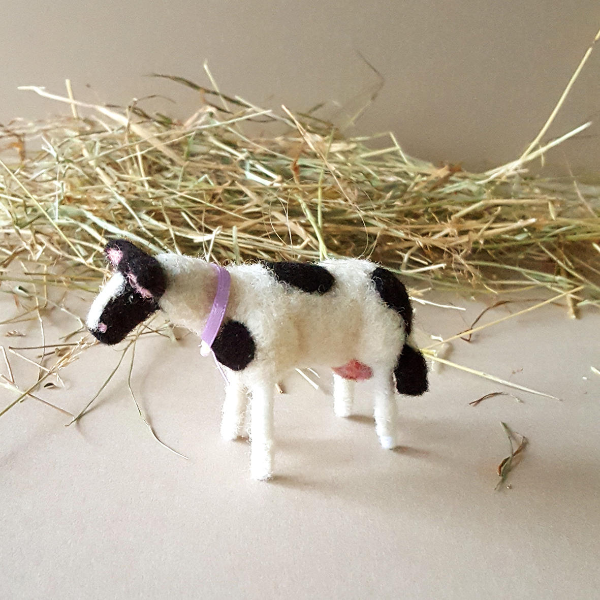 black and white cow Christmas farm decor, needle felted cow, cow lovers gift, wool felt animals, cow ornament, felted wool cow figurine