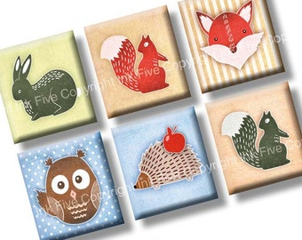 Forest Friends scrabble tile images 0.75x0.83 inch. Two 4x6'' Collage Sheets for scrabble pendants. Woodland animals digital download