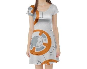 BB-8 Star Wars Inspired Short Sleeve Skater Dress