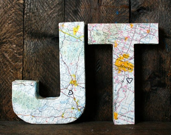 Map Letters (Set of 2). Wedding. Adventure. Travel. Wedding Decor. Map. Home. Shabby Chic.