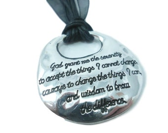 Serenity Prayer Pendant Necklace,  gift idea, Black and Silver, God Grant Me the Serenity, AA, Sobriety gift,  Prayer Jewelry, Inspirational