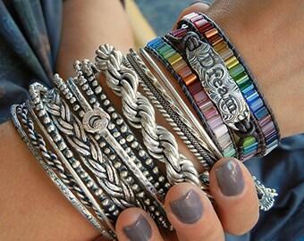 GYPSY Jewelry, Gypsy Bracelet, Bohemian Leather Wrap Bracelet, Hippie Chic Jewelry, Leather Bohemian Bracelet, Multi Colored Hippie Bracelet