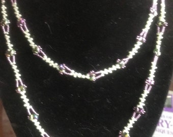 Lacy Long Beaded Necklace