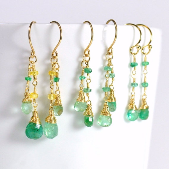 Emerald, Yellow & Green Sapphire Earrings, Mothers day Gift, May Birthstone, Wife Gift, Green Sapphire earrings, Emerald Earrings