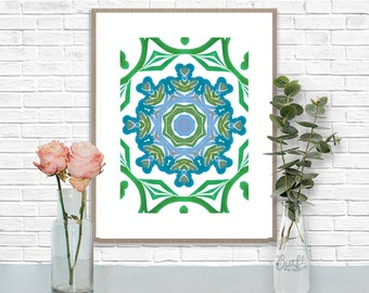 Bali Blues 2 Digital Print • Kaleidoscope Mandala Bright Island Pattern • Instant Download • Home Decor Wall Art • Printable Poster Artwork