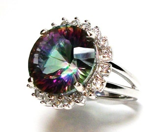 "Mystic topaz, topaz, topaz ring, cocktail ring, rainbow topaz, green blue purple,  s7  ""Runaway Rainbow"""