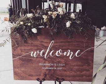 Custom Handpainted Wooden Welcome Wedding Signage, Rustic Wedding Decor, Bride Groom Reception Sign, Ceremony Welcome Sign