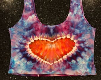 Hand dyed heart crop top