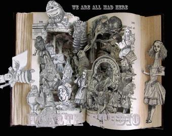 Alice in wonderland altered book Print instant download Last minute gift