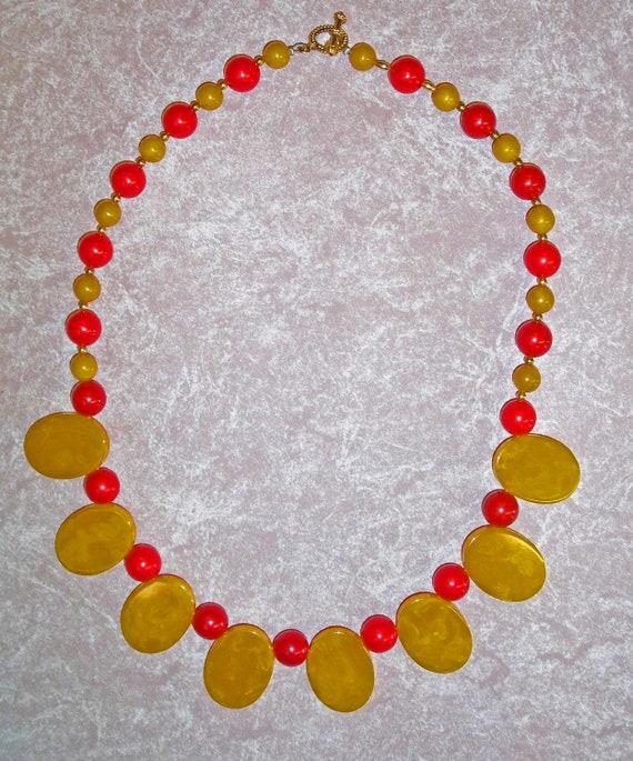 Pineapple Disc and Cherry Bakelite Bead Necklace